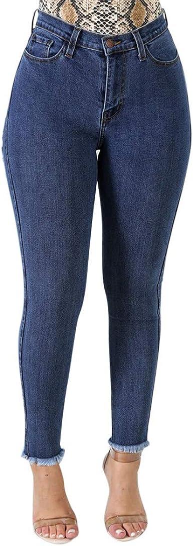 Houmengo Ropa Vaqueros Talla Grande Mujer Mujer Tallas Grandes Pantalones Rotos Mujer Skinny Jeans Cintura Alta Jeggings Mezclilla Talle Alto Elasticos Amazon Es Ropa Y Accesorios