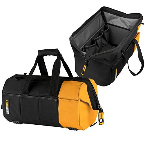 ToughBuilt - 16'' Massive Mouth Tool Bag | 38 Pockets & Loops, Heavy-duty, Rigid Hard Body Lining, Zipper Lock Wide Mouth Tool Storage/Organizer Box, Plastic-lined External Pocket (TB-60-16) by ToughBuilt