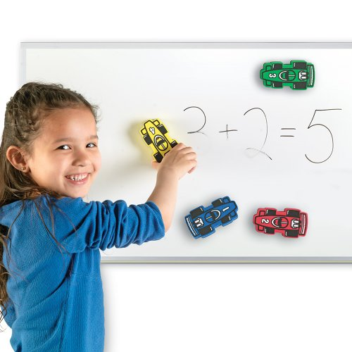 - Learning Resources Magnetic Whiteboard Erasers, Racecars