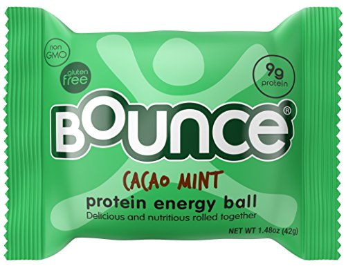 Bounce Cacao Mint Protein Energy Ball - Whey Protein, Gluten Free, Non-GMO, Vegetarian, All Natural Snack - 1.48 Ounce, 12 count