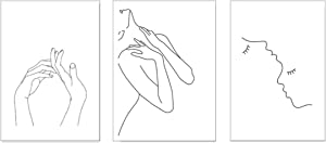 HERRA 16x20Inches/40x50CM Wall Art Canvas Print Poster for Bedroom Living Room Minimalist Black and White Sketch Hug Love Hand in Hand Sketch Art Line Paintings Home Decor (Set of 3 Unframed 16x20in)