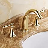 Lightinthebox Bathroom Ti-PVD Finish Classic Solid Brass Bathroom Sink Faucet Gold Luxury Two Handles Roman tub mixer taps bath shower faucets lavatory unique designer plumbing fixtures ceramic valve included