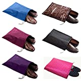 FashionBoutique waterproof Nylon shoe bags- New 6 Colors Set travel friends (Sky Blue/Rose Red/Purple/Coffee/Black and White Polka dot/Hotpink Polka dot)
