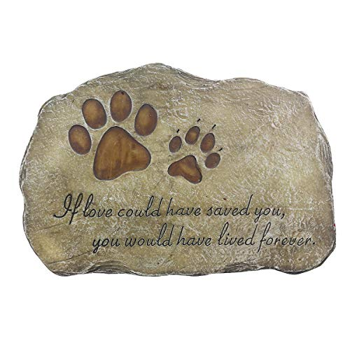 (JHP Pet Memorial Stone Marker for Dog or Cat, Garden Stone for Loved Pet, Pet Grave Headstone Tombstone, Loss of Pet Gift)