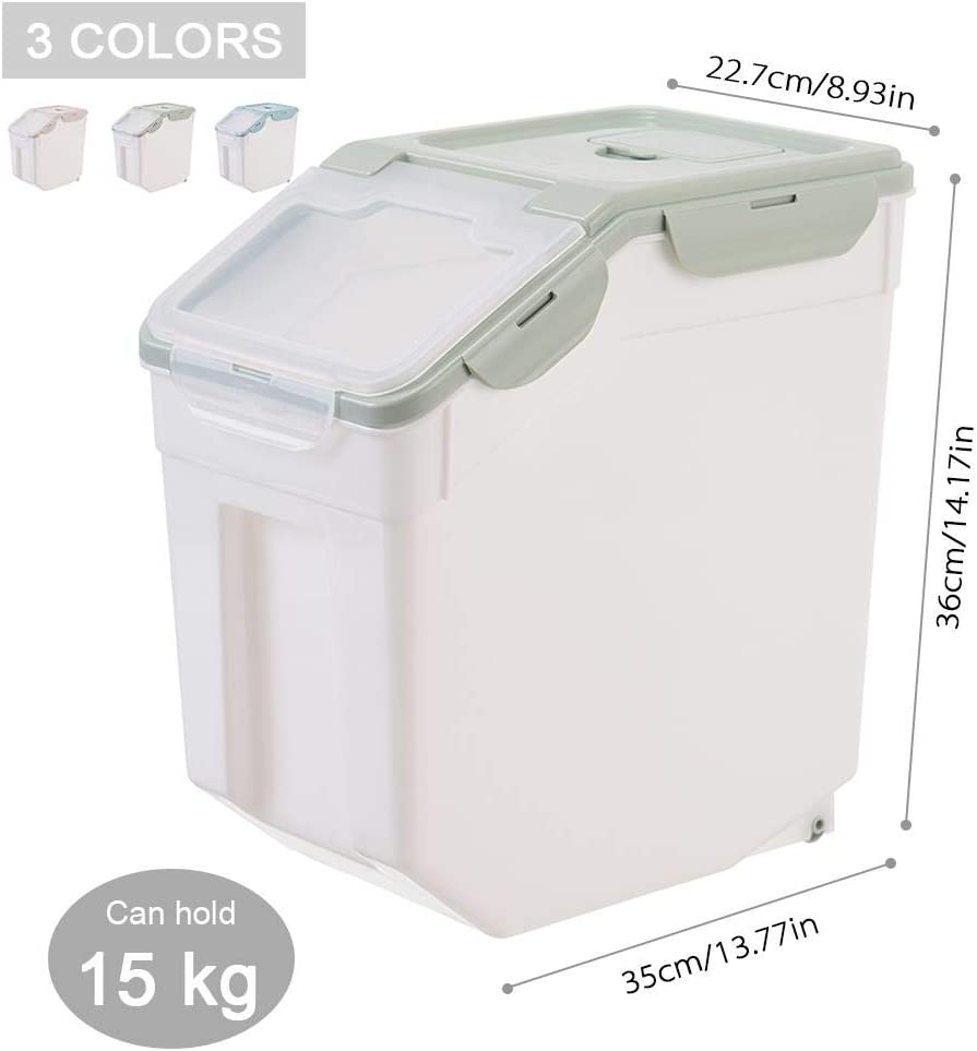 Volwco Distributeur de Riz Bo/îte de Rangement en Plastique avec Couvercle,R/écipient de Riz Alimentaire Sec,Bo/îte de C/ér/éales Scell/ée pour la cuisine,10 kg Stockage de Riz Bo/îte de Stockage de Riz