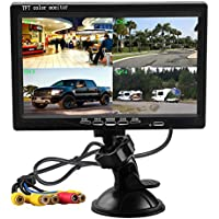 Podofo 7 Inch HD 4 Split Quad Video Displays TFT LCD Rear View Monitor For Car Backup Camera Kit & Home Surveillance Security System