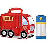 Thermos Firetruck Novelty Soft Lunch Kit w/ Insulated 10-Ounce Straw Bottle (Blue/Yellow)