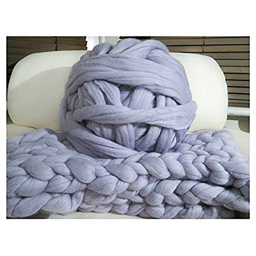 HomeModa Studio 100% Non-Mulesed Chunky Wool Yarn Big chunky Yarn Massive Yarn Extreme Arm Knitting Giant Chunky Knit Blankets Throws Grey White (0.5kg-1.1lbs, grey) Grey Wool Blanket