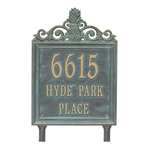 "(Customized Lanai Pineapple 3 Lines Standard LAWN Address Plaque 15""H)"