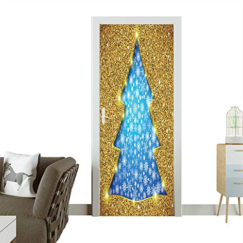 - Homesonne 3D Photo Door Murals Christmas Tree Card with Glitter and showflakes Easy to Clean and Apply W23 x H70 INCH