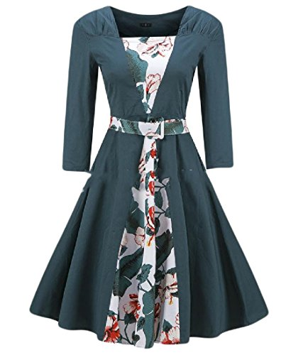 Women Coolred Mid Green Length Printed Sleeve Blackish Pleated Dress Retro Swing Half A4SdW4q