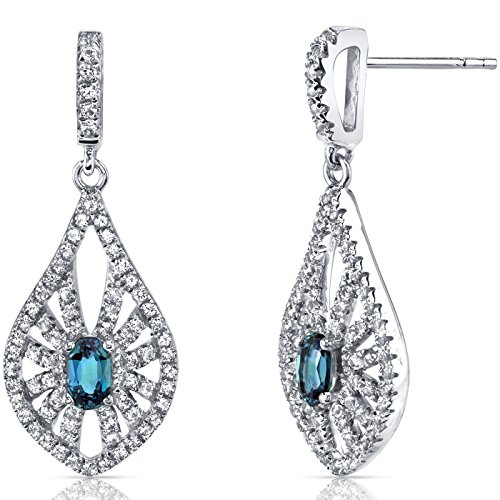 14K White Gold Created Alexandrite Chandelier Earrings 0.50 Carats ()