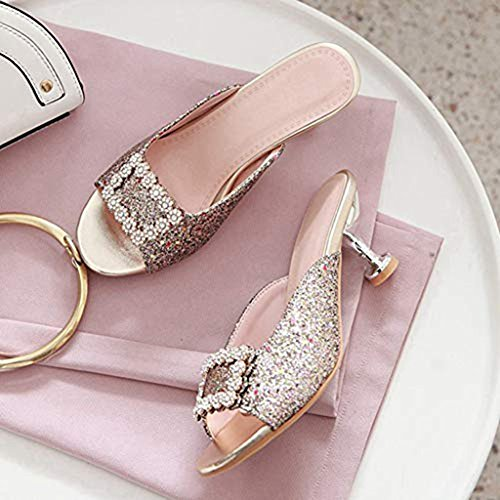 Bling Flowers Slip Glitter Pumps golden Sparkle Dress on T Heels Shoes Women's Slides Mules Rhinestone Sandals Clogs JULY AvwXzqt