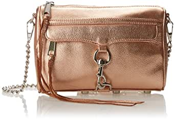 Rebecca Minkoff Metallic Mini MAC Convertible Cross-Body Bag,Rose Gold,One Size