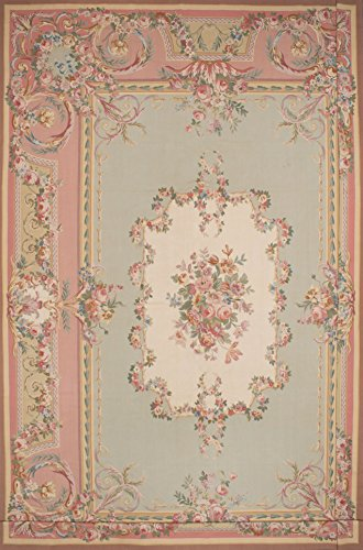 Ecarpetgallery Hand-woven French Tapestry Aubusson 14' x 20' Green 100% (French Aubusson Rugs)
