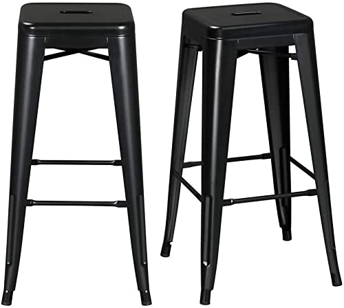Topeakmart 30 inches Metal Bar Stools High Backless Barstool Stackable Bar Height Stools Chairs, Black, Set of 2