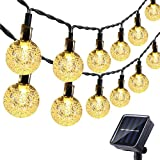 Lyhope Solar Outdoor String Lights, 20 ft 30 LED Crystal Ball Waterproof Solar Powered Globe Lights for Garden Patio Holiday Party Decorations (Warm White)
