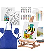 Kids Painting Set, Falling in Art Acrylic Paint Sets, Artist Supplies Kit with Wood Easel, Art Smock, Acrylics, Watercolors, Paint Brushes and More