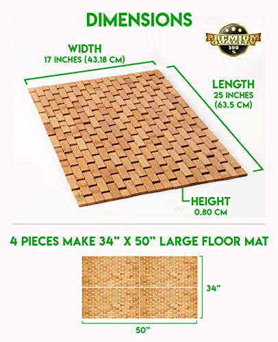 Natural Bamboo Wood Bath Mat: Wooden Door Mat/Kitchen Floor Rug - Bathroom Shower and Tub Mats - ENHANCED FLOOR-GRIPPING RUBBER PAD - Using an upgraded silicone rubber different from other brands, a real gripping pads to protect your flooring and provide you with a more stable footing MULTIPURPOSE USE, INDOOR / OUTDOOR - Place inside bathrooms or as an outdoor shower mat for a spa like feel or to make kitchens / laundry rooms more modern NATURAL BAMBOO WOOD - Lighter than teak wood and stronger than plastic or rubber, our solid bamboo wood mats have a longer lifespan, would not stain, sag or bend - bathroom-linens, bathroom, bath-mats - 51469Tyob%2BL -