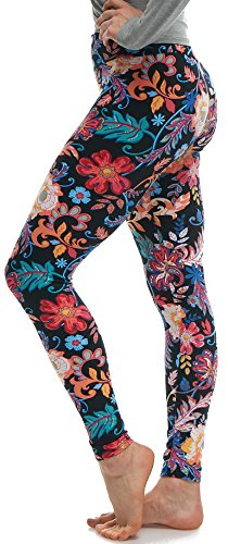 Floral Print Leggings - Lush Moda Extra Soft Leggings with Designs- Variety of Prints - 823YF, One Size fits Most (XS - XL), Folk Flower Yoga Waist