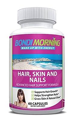 Bondi Morning Hair, Skin & Nails Premium Dietary Supplement – 100% Natural & Healthy Vitamins & Minerals, New Formula With Folic Acid & Biotin Promotes Stronger Nails & Hair Growth – 60 Capsules