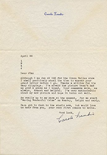 Carole Landis – Typed Letter Signed 04/26/1944