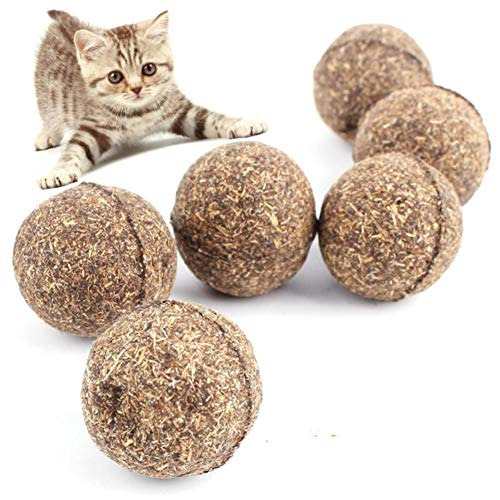 Luck Dawn Compressed Catnip Ball Toys, Natural Catnip Kitten Chew Toy for Teeth Cleaning ()