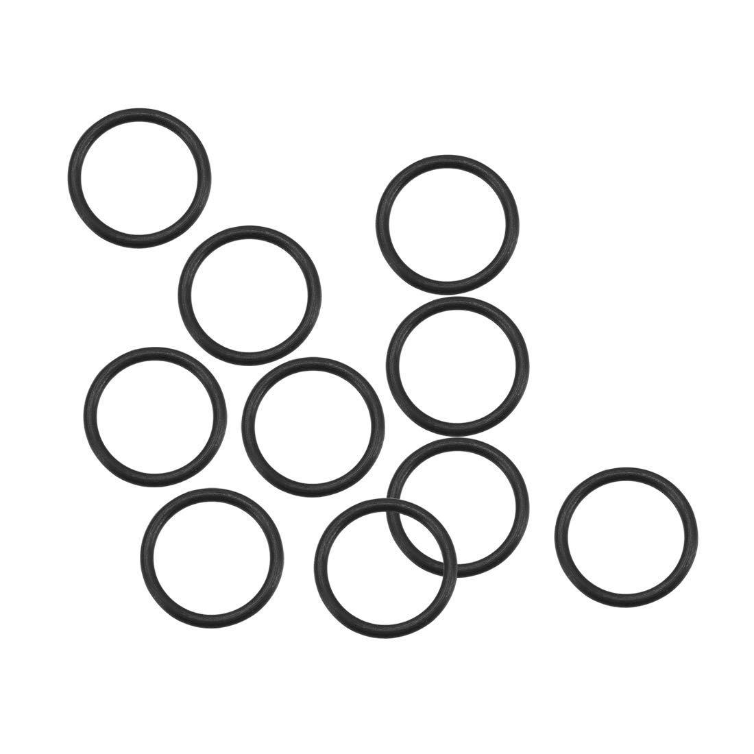1 mm Width 10-Piece Black Sealing Gasket 11 mm Outer Diameter 9 mm Inner Diameter O-Rings of Fluorine Rubber