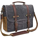Mens Messenger Bag 15.6 Inch Waterproof Vintage Genuine Leather Waxed Canvas Briefcase Large Satchel Shoulder Bag Rugged Leather Computer Laptop Bag, Grey