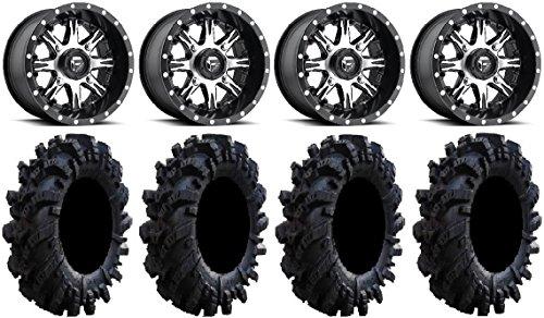 Bundle - 9 Items: Fuel Nutz Black 14'' Wheels 30'' Intimidator Tires [4x156 Bolt Pattern 12mmx1.25 Lug kit] by Powersports Bundle