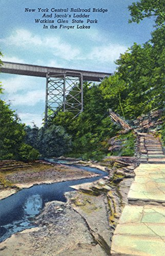 Watkins Glen, NY - State Park View of NY Central RR Bridge, Jacob's Ladder (24x36 SIGNED Print Master Giclee Print w/Certificate of Authenticity - Wall Decor Travel Poster)