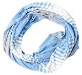 seahawks shirt light blue - Tickled Pink Women's Striped Game Day T-shirt Infintiy Scarf, Light Blue, One Size