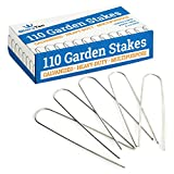 GloryTec 110 Galvanized Garden Stakes - 6 inch Anti-Rust Landscape Staples - Comparative-Winner 2018-11 Gauge Heavy-Duty Landscaping Pins - Ground Pegs for Weed Barrier, Invisible Doge Fence Stake