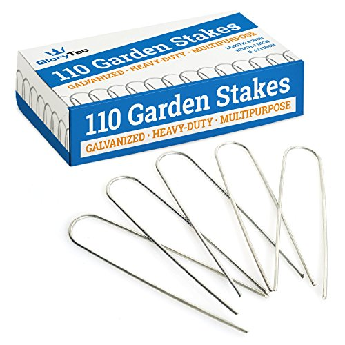 Electric Stake - GloryTec 110 Galvanized Garden Stakes - 6 inch Anti-Rust Landscape Staples - Comparative-Winner 2018-11 Gauge Heavy-Duty Landscaping Pins - Ground Pegs for Weed Barrier, Invisible Doge Fence Stake