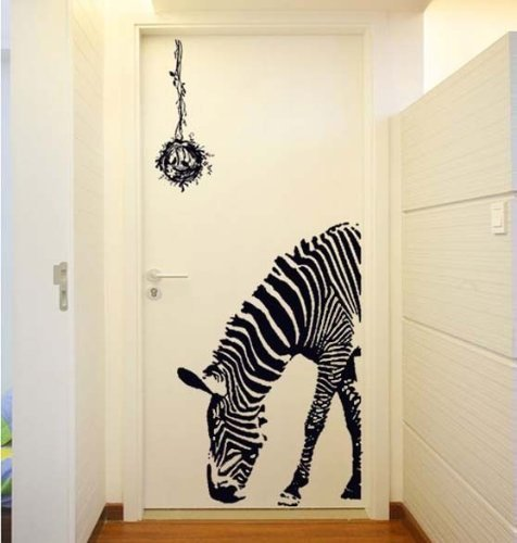 Huge Zabra Vinyl Wall Sticker Zebra Wall Decals Animal Print Home Murals Decor Decor African Animal Accent Murals