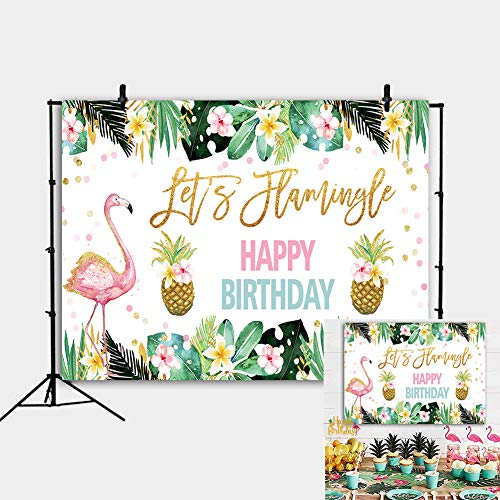 Fotupuul Summer Flamingo Pineapple Party Backdrop Hawaiian Happy Birthday Backdrops Photography Colorful Flowers Photography Background 5x3FT ()