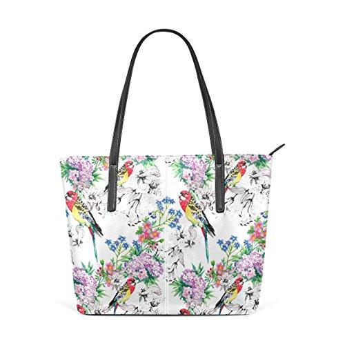 COOSUN Pájaros en jardín floreciente de la PU de cuero bolso monedero y bolsos de la bolsa de asas para las mujeres Medio muticolour