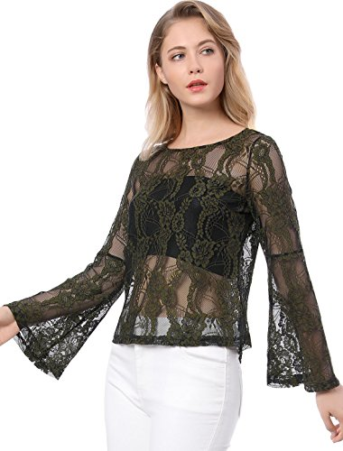 bc8469b5ab75 Allegra K Women's Bell Sleeve Sheer Blouse Lace Top