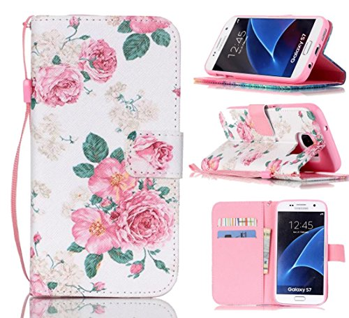 Tikeda-Galaxy S7/S7 Edge Beauty Leather Wallet Case Cover & Credit Card Holders For Samsung Galaxy S7/Galaxy S7 Edge With Hand Strap-2016 New (USPS Fast Shipping) (Samsung Galaxy S7, Peony)
