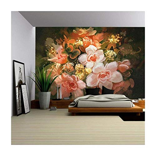 Painting Wallpaper - wall26 - Illustration - Beautiful Flowers,Color Blooming,Illustration,Digital Painting - Removable Wall Mural | Self-adhesive Large Wallpaper - 100x144 inches
