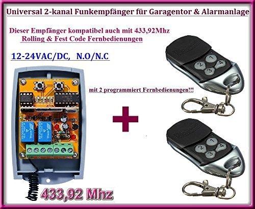 Funkempfänger SET 433,92Mhz 12-24 VAC / DC + 2 Rolling code Fernbedienung für Garagentor, Alarmanlage