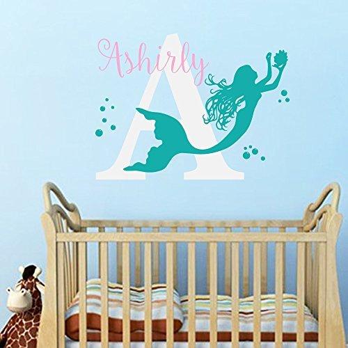Wall Decal Decor Little Mermaid Sleep Here Baby Name Custom Wall Decal - Personalized Girls Name Vinyl Wall Sticker Children Kids Room Nursery D¨¦corblack22h x275w