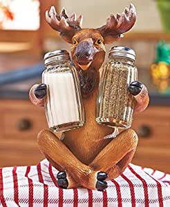Moose Whimsical Farm Barnyard Animal Woodland Country Salt N Pepper Shaker Set Country Countertop Kitchen Accent Table Decor