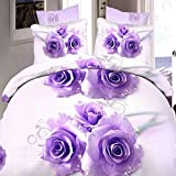 3or 4pcs Suit 3D Purple Rose Flowers Reactive Dyeing Polyester Fiber Bedding Sets Twin Queen Size