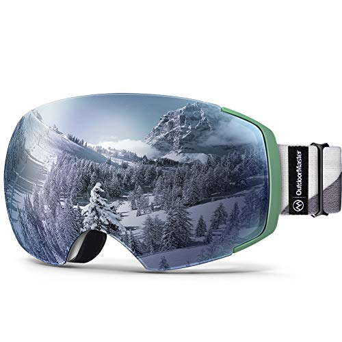 OutdoorMaster Ski Goggles PRO - Frameless, Interchangeable Lens 100% UV400 Protection Snow Goggles for Men & Women (Camo Frame VLT 12% Sapphire Lens and Free Protective Case)