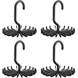Dr.Pink 4 PCS Black 360 Degree Rotating Scarf Hanger Adjustable Twirl Tie Rack Tie Belt,Multipurpose Organizer,Hook Ties Scarf for Closet Storage (4.4