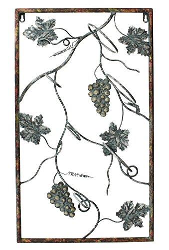 Wine Bottle Metal Grapes (PierSurplus 3 Bottles Metal Wall Hanging Wine Rack with Decorative Grape Vines Wall Art Product SKU: HD221113)