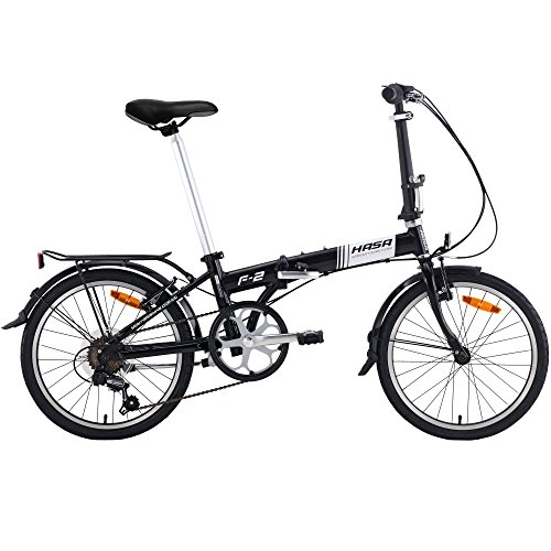 Hasa Folding Foldable Bike Sram 6 Speed Black