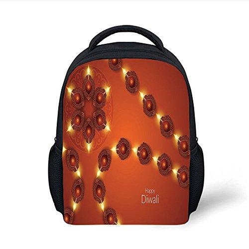 iPrint Kids School Backpack Diwali,Paisley Design Tribal Festive Celebration Image with Candle Work of Art Decorative,Dark Orange Yellow Plain Bookbag Travel Daypack by iPrint