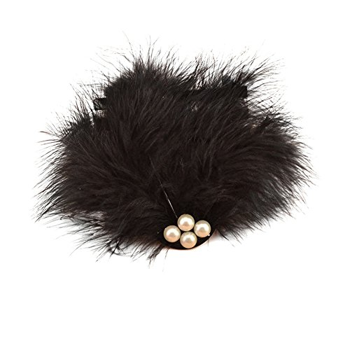 ACTLATI Flapper Headband 1920s Roaring Gatsby Vintage Feather Hair Clip Cocktail Party Hair Accessories for Women Black